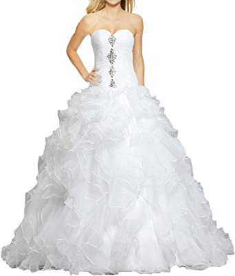 Ants Women S Formal Bead Ruffles Organza Ball Gown Wedding Dress For Bride At Amazon Women S Clothing Store