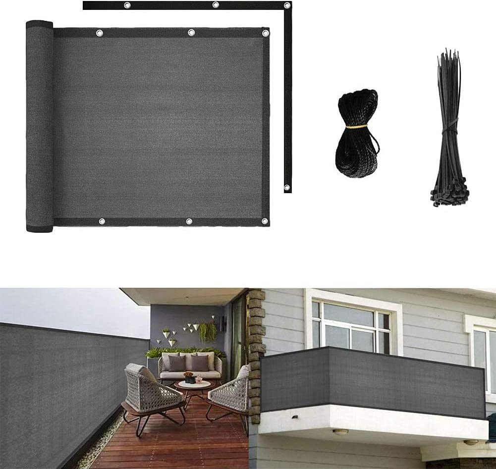 longdafei Balcony Privacy Screen Fence Mesh for Balcony Window Light 3'x16.4' Patio Porch Deck Garden Outdoor Protection Windshield Premium UV Shade Balcony Cover (3'x16.4' Grey)
