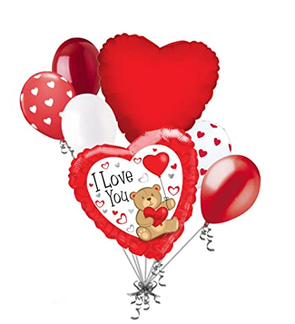 7pc I Love You Red Teddy Bear Heart Valentines Day Balloon Bouquet Mine Hug Kiss Sweetest