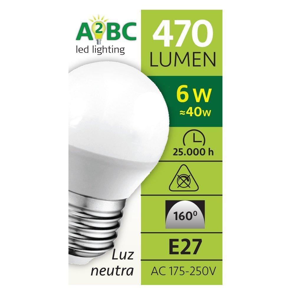 Pack 5 x Bombilla LED esférica 6W (equivalente a 40W) Luz neutra (4000K) no dimmable. E27. 470 Lm. 25000 horas de vida. Encendido ultrarrapido (encendido al ...