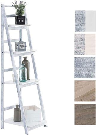 CLP Estantería Escalera Plegable Kirsten En Estilo Rústico I Estantería Librería De Madera con 4 Estantes, Color:Blanco/Gris: Amazon.es: Hogar