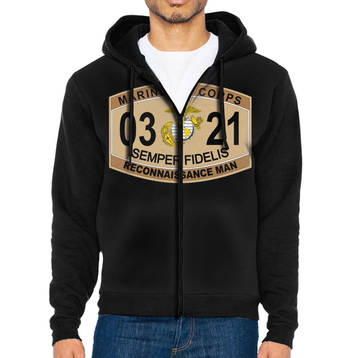 Reconnaissance Man Marine Corps MOS 0321 U.S.M Mens Full-Zip Up Hoodie Jacket Pullover Sweatshirt