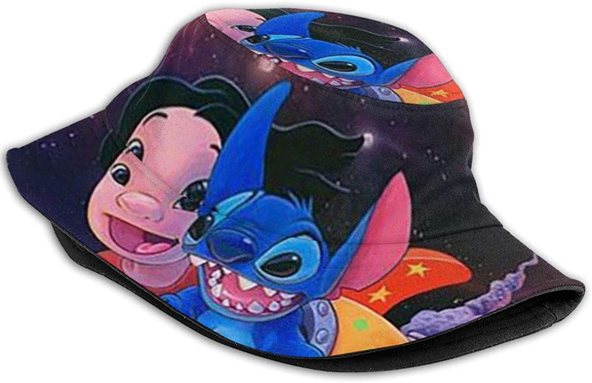 Bucket Hat Lilo and Stitch Printed Packable Summer Outdoor Cap Sun Fishing Boonie Hats Black