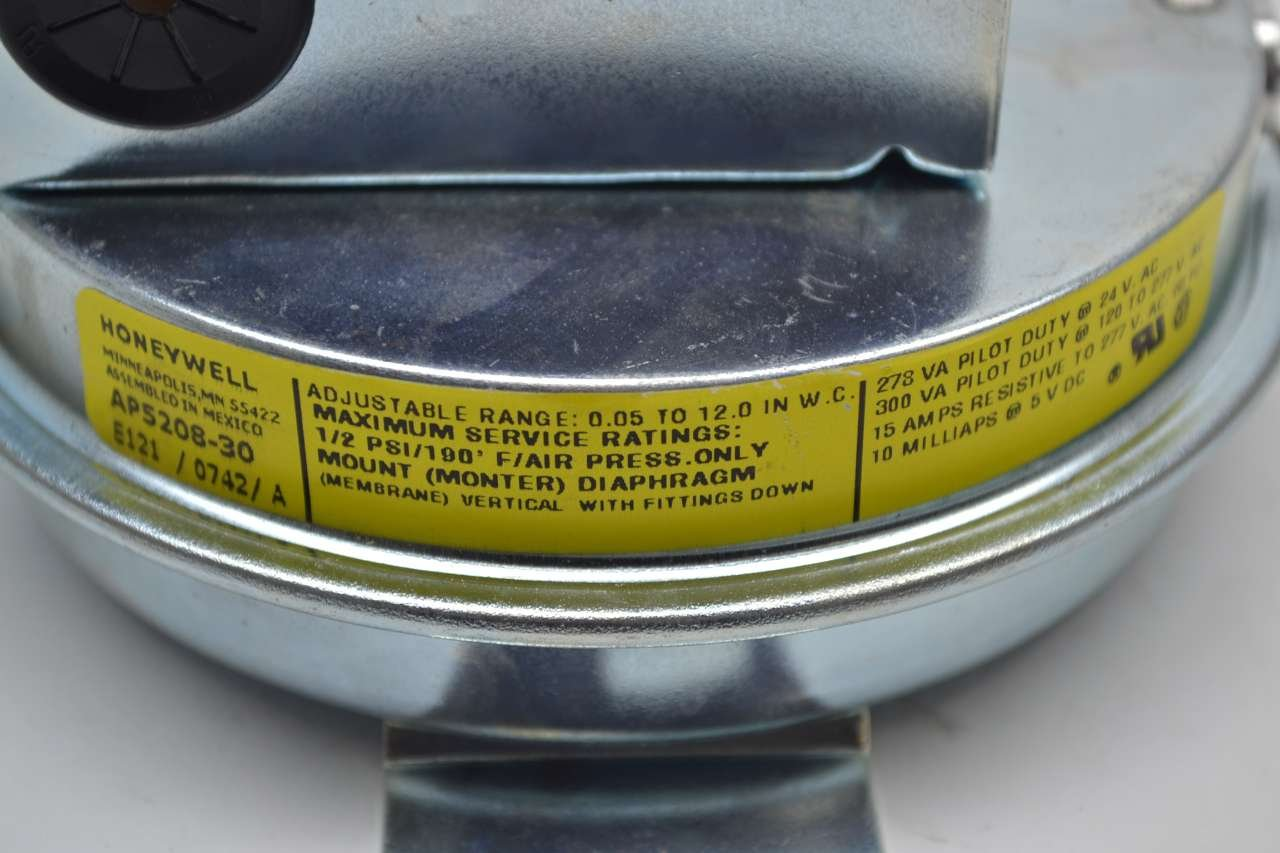 Inc Honeywell AP520830 .05-12in Wc Air Sw Auto Reset .25in Tubi