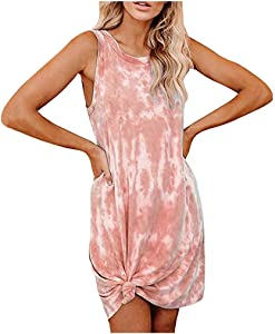 Dosoop Women's Casual Tie Dye Short Dress Crew Neck Sleeveless T Shirt Mini Dress Swing Loose Comfy Tank Dress Sleepwear