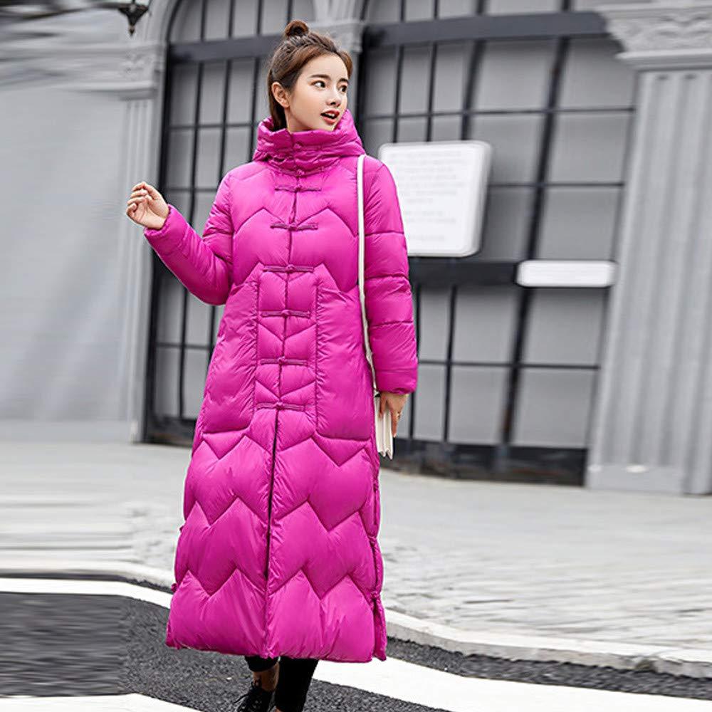 Damen Daunenjacke Lange Mantel Einreihig Warm Dick