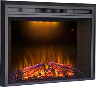 Valuxhome Electric Fireplace, 36 Inches Fireplace Insert with Overheating Protection, Fire Crackling Sound, Remote Control, Thermostat, 750/1500W, Black