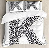 Letter K 4 Piece Bedding Set Twin Size, Alphabet Design with Soccer Balls Composition with Sports Theme Outdoors, Duvet Cover Set Quilt Bedspread for Childrens/Kids/Teens/Adults, Black and White