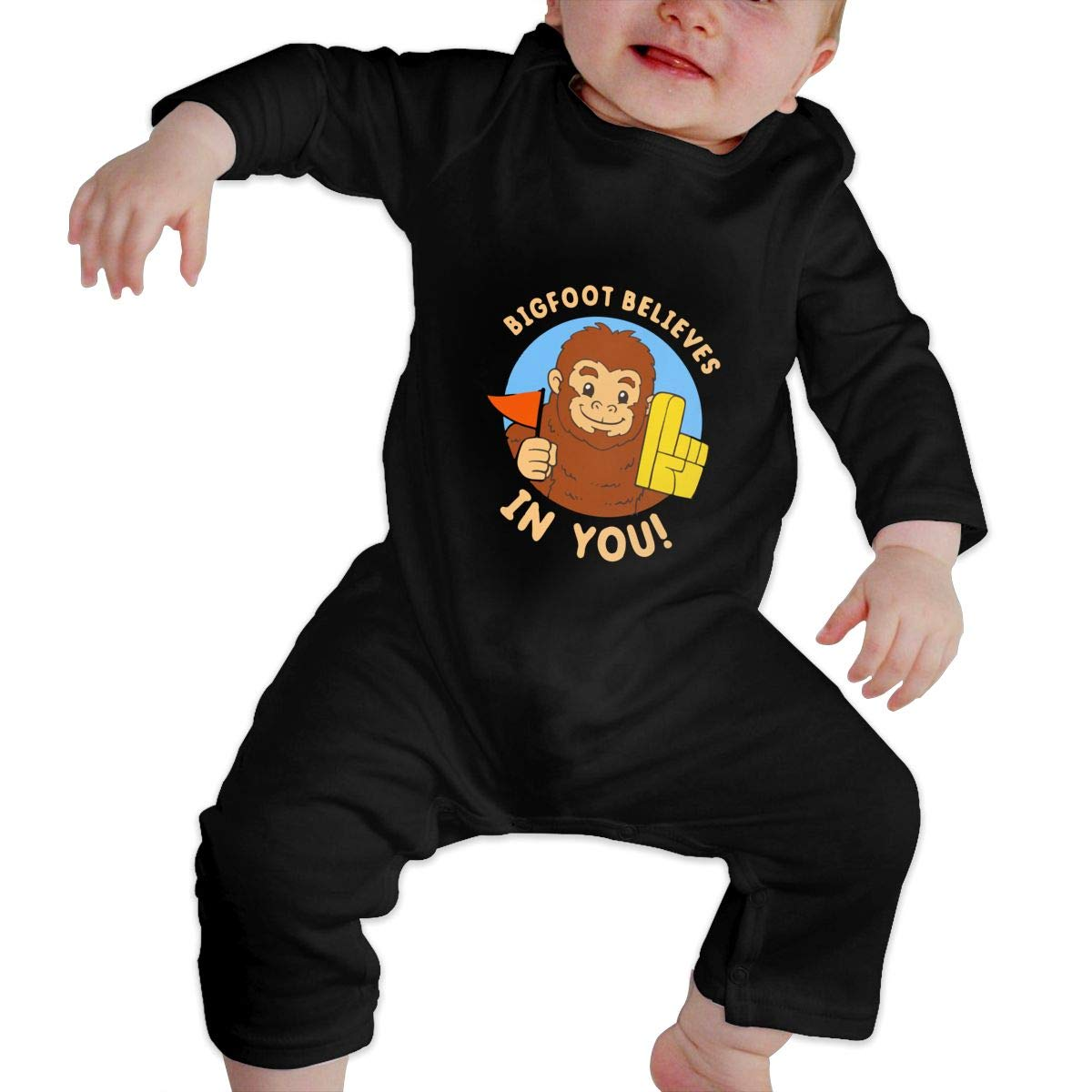 Suit 6-24 Months Black Toddler Round Collar Bigfoot Believes in You Long Sleeve Playsuit 100/% Cotton