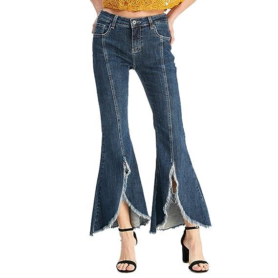 007c25ecd72c ZhiYuanAN Femme Évasé Jeans Couleur Unie Taille Haute Split Pantalon Denim  Stretch Pantalon Casual Slim Fit