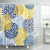 Blue and Yellow Shower Curtain TOMPOP Shower Curtain Green Spring Flower Blue Yellow and Navy Chrysanthemum Brown Waterproof Polyester Fabric 60 x 72 Inches Set with Hooks