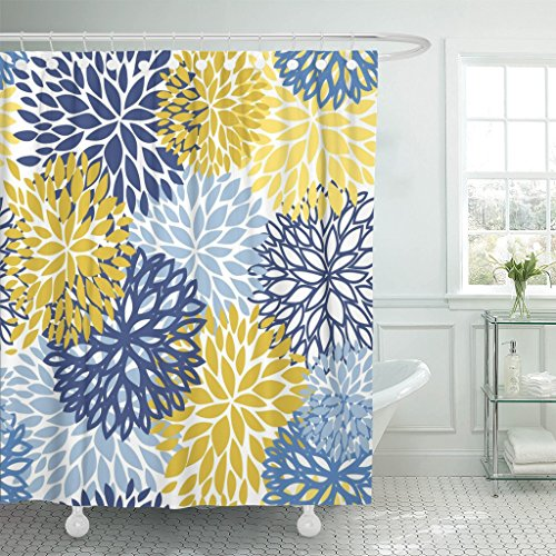 TOMPOP Shower Curtain Green Spring Flower Blue Yellow and Navy Chrysanthemum Brown Waterproof Polyester Fabric 60 x 72 Inches Set with Hooks