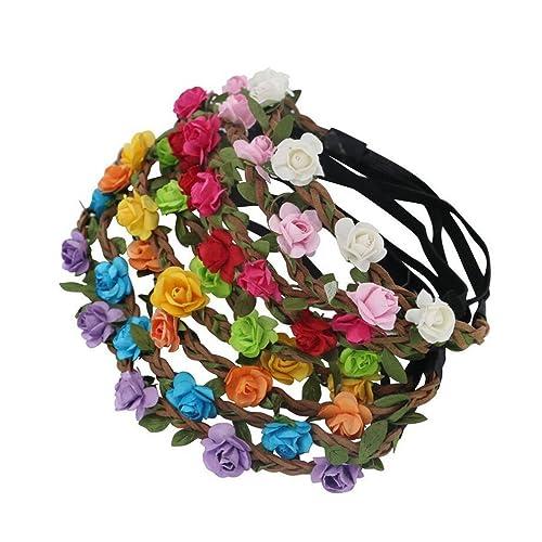 9 Pièces Fleur Couronne Bandeaux Guirlande - Femme Fille Multicolore Floral Bandeau pour Festival De Mariage Accessoires De Cheveux