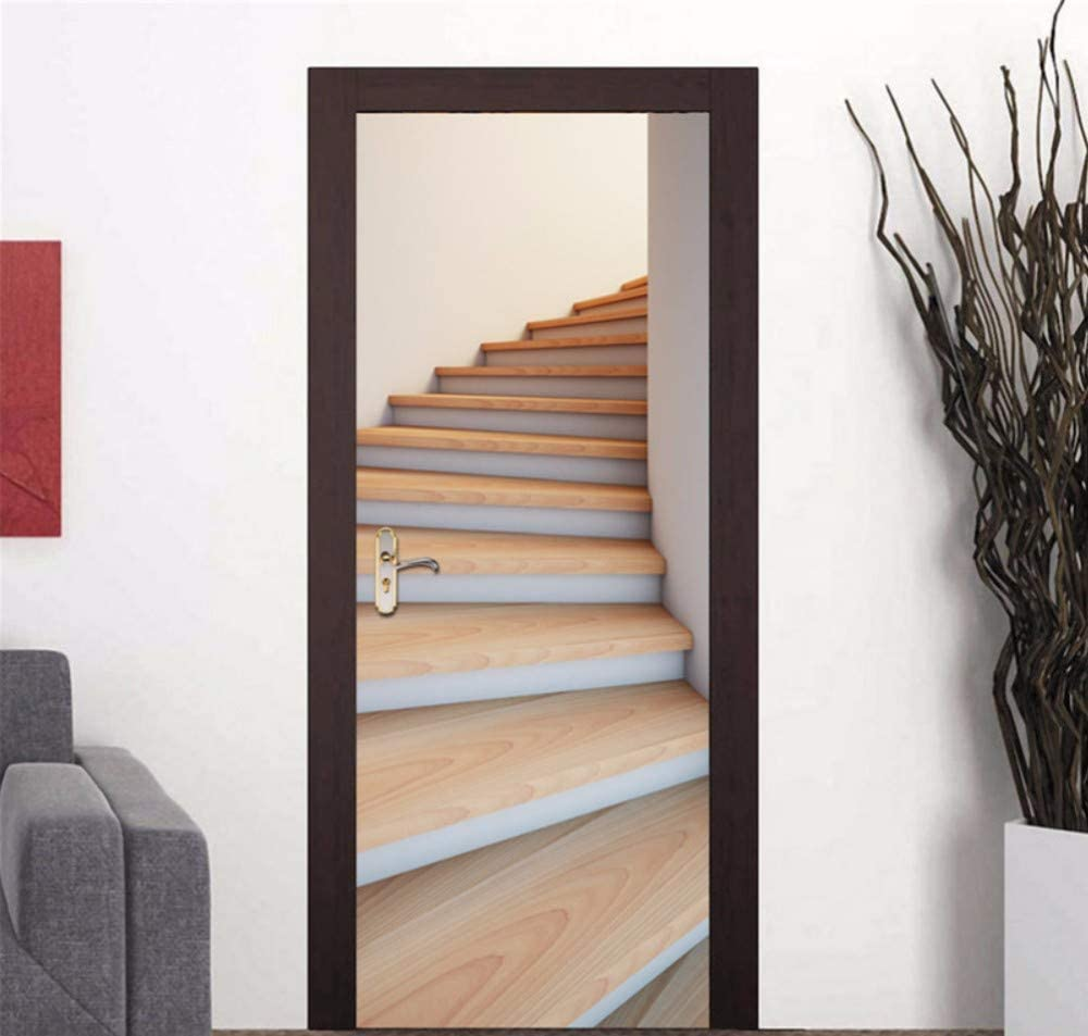 Vinilo Puerta Mural Pared Escalera, Sala De Estar, Baño, Papel De Pared, Imitación 3D, Arte Mural, Póster.: Amazon.es: Bricolaje y herramientas