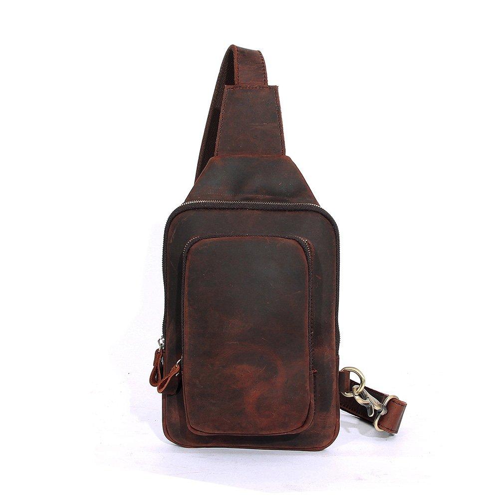 CHAO.P.J Leather Crossbody Chest Bag Shoulder Backpack Travel Rucksack Sling Bag