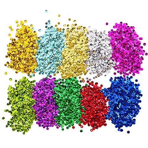 Shappy Loose Sequins Bulk Cup Sequin Iridescent Spangles for DIY Arts Crafts Making, 10 Colors, 6 mm, 100 Gram