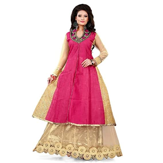 Muta Fashions Womens Indo Western Gown Gown161pink Amazonin