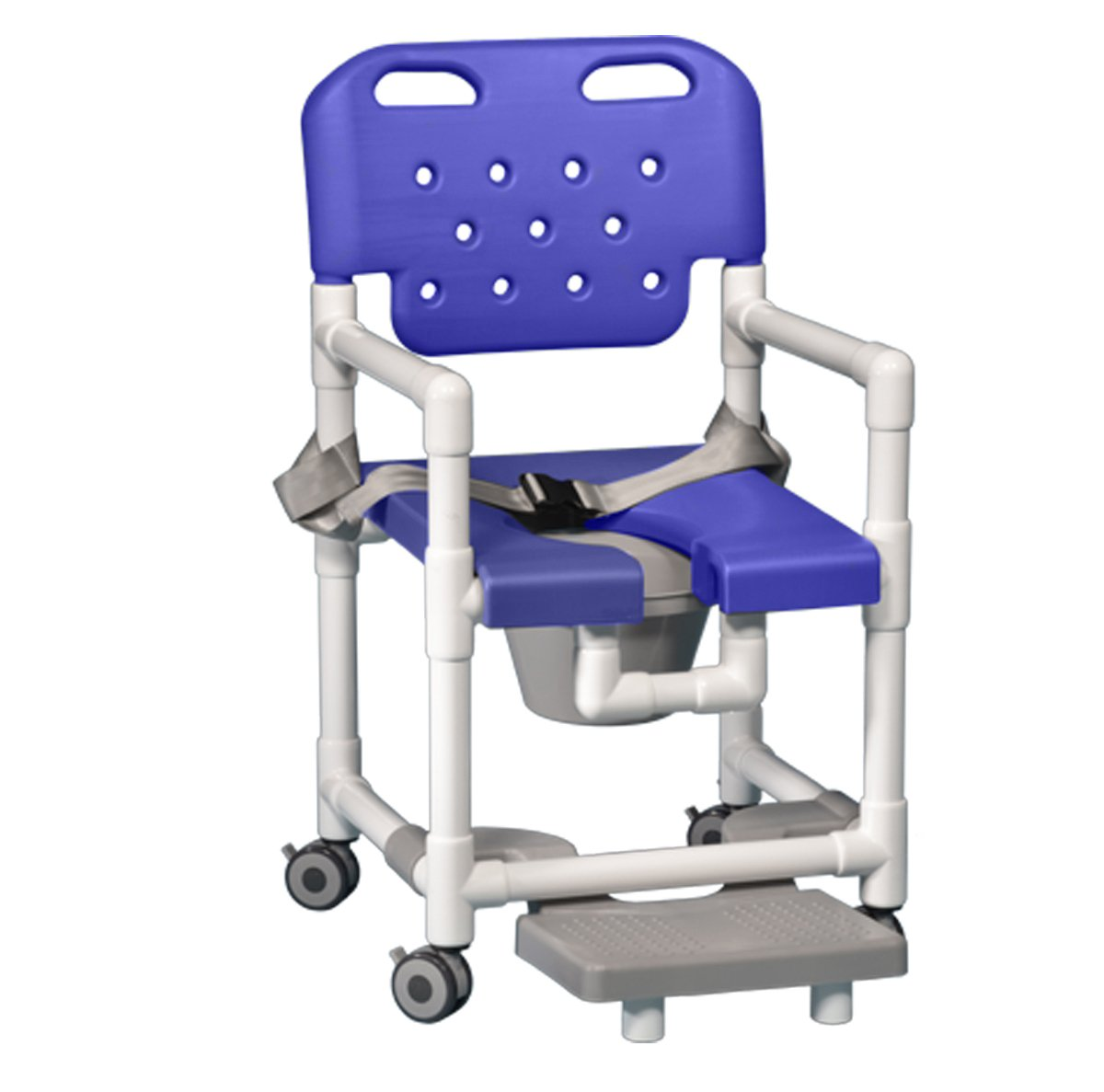 Innovative Products Unlimited ELT817 P FRSB B Elite Shower Commode with Footrest and Seat Belt, 21 lb