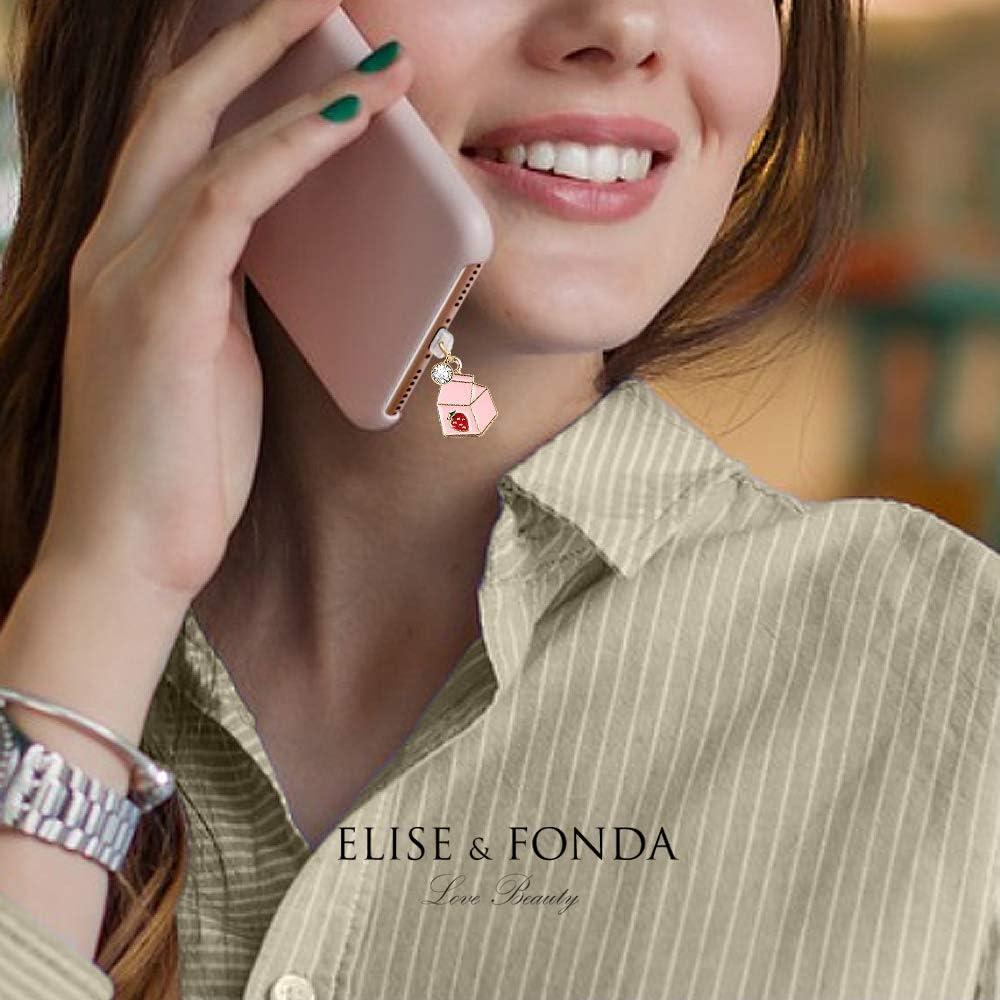 CP195 USB Charging Port Anti Dust Plug Cute Little Strawberry Milk Pendant Phone Charm for iPhone 11// XS MAX//XR//X//8 Plus//7//6S//8//SE iPad iPod