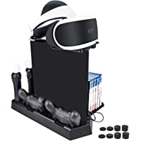 SmartFire 7 in 1 Multifunctional Vertical Stand Set for PS4/ PS4 Slim/PS4 Pro with 3 USB ports & Controller Charger & PS Move Charger & Cooler & Game Storage Holder & PSVR Glass Tray AND 8pcs FPS PRO Thumb Grips(Black)