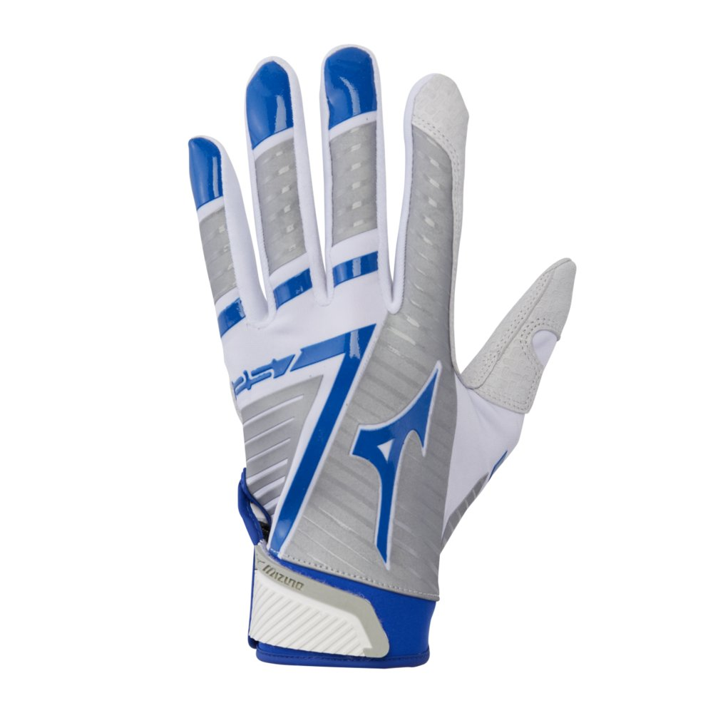 Mizuno F-257 Women's Softball Batting Glove, White-Royal, X-Small