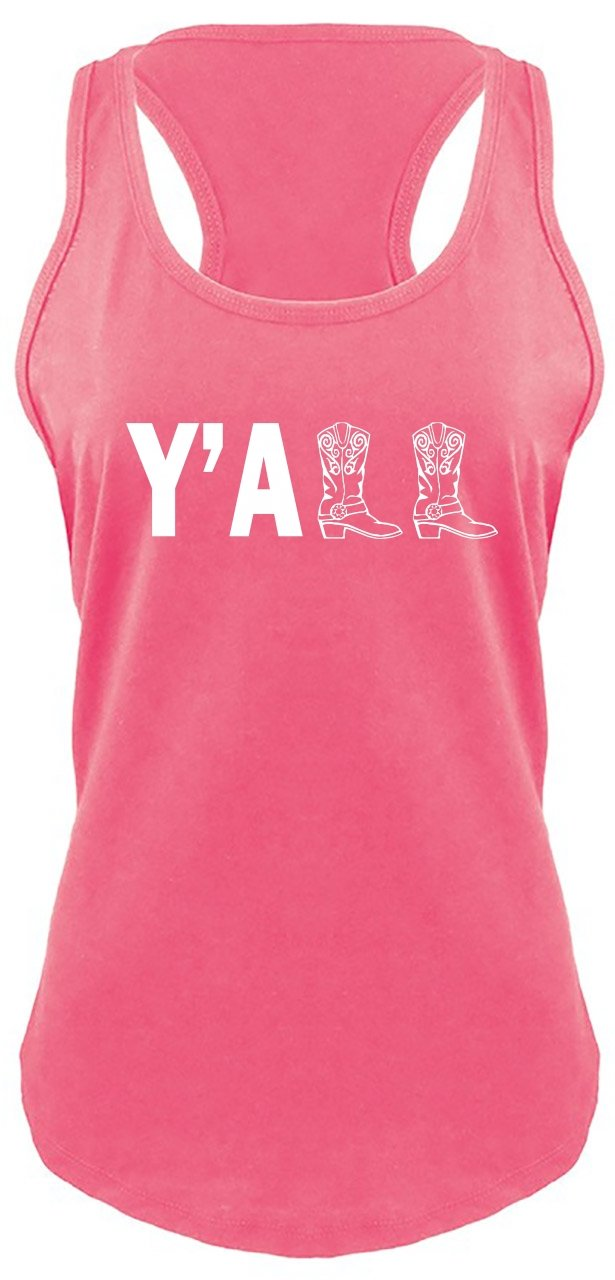 Ladies Racerback Tank Y'all Cute Western Southern Country Cowgirl Cowboy Boots Hot Pink with White Print 2XL