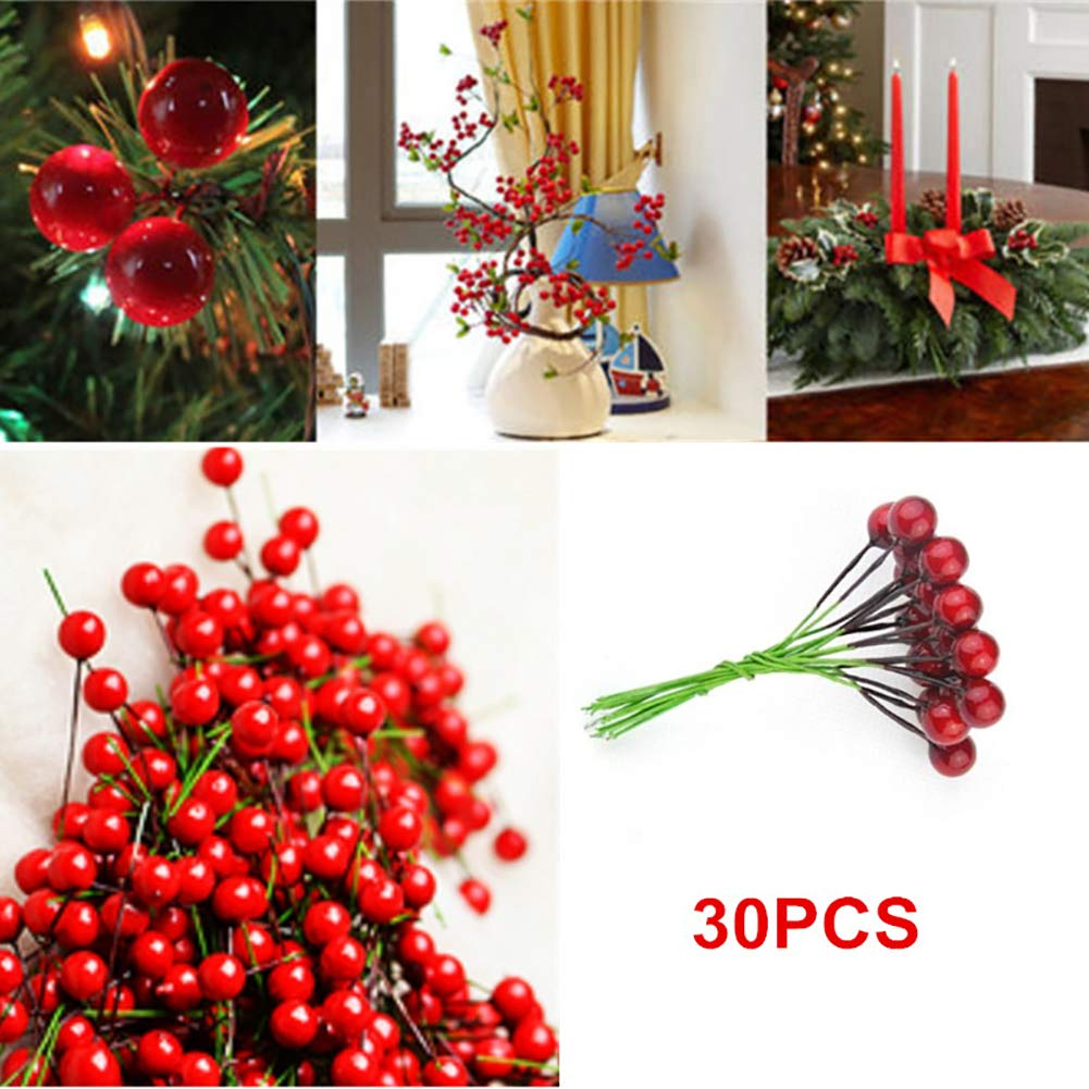 DDG EDMMS A pack of 30 people made holly berry foam scrub fruit holly berry table center mini Christmas scrub fruit berry holly artificial flower decoration (red, 1.2 cm / 0.50 inch) Christmas Decoration