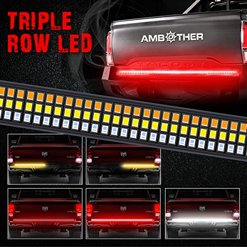 AMBOTHER 60'' Triple LED Truck Tailgate Side Bed Light Bar Strip Sequential Amber Turn Signal Red/White Reverse Stop for Pickup SUV Jeeps RV Dodge Ram Toyota Chevy GMC Waterproof 504LEDs, (60' Led Tailgate Bar)