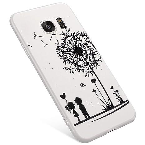 965cb3469bc Uposao Funda Samsung Galaxy S7 Carcasa Scrub Transparente Dibujos Flor  Animados Premium Ultra Hybrid Fina Slim