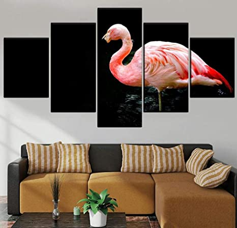 37tdfc 5 Leinwandbilder 5 Teiliges Tier Flamingo Leinwandbild Wandbilder Wohnzimmer Modern Wandbilder Schlafzimmer Wanddekoration Wohnungs Deko Wandbild Xxl Leinwand 150x80 Cm Amazon De Kuche Haushalt
