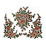 1set 3D Flower Embroidery Applique Lace Fabric Patches for Dress Garment Decorated DIY Sewing Accessories T2579 (Orange with green)
