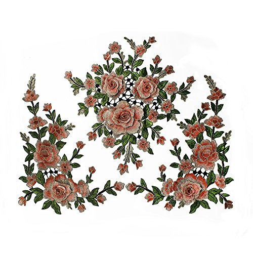 1set 3D Flower Embroidery Applique Lace Fabric Patches for Dress Garment Decorated DIY Sewing Accessories T2579 (Orange with green) by Resources House