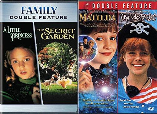 Matilda & The New Adventures of Pippi Longstocking + The Secret Garden & A Little Princess DVD Set Classic Family Fantasy Movie Bundle Fairy Tale Magical Feature Favorites