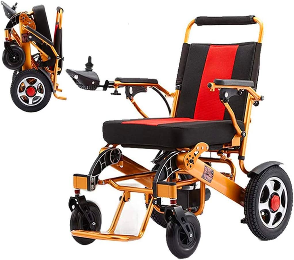 PIAOLING Silla de Ruedas de Ayuda a la Movilidad Plegable portátil Silla de Ruedas eléctrica, Carry Ligera Powerchair Vespa, 24V 20Ah Li-Ion, 250W * 2 Ruedas de Doble Motor eléctrico (Color : Gold)
