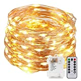Kohree 33ft (10m) 100 LEDs Fairy Lights Copper Wire Lights - with Timer ,Rope String Lights for Festival, Christmas, Wedding, Holiday and Party - Warm White, Battery Powered
