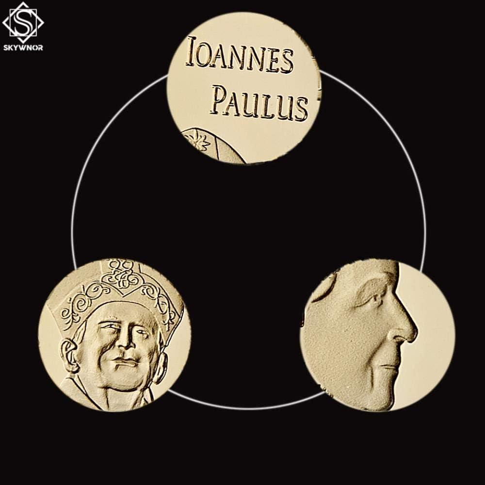 Or dadi 2019 Nouvelle pi/èce Souvenir Italie Vatican Romain Ioannes Paulus PP./II Collection de pi/èces plaqu/ées Or catholicisme