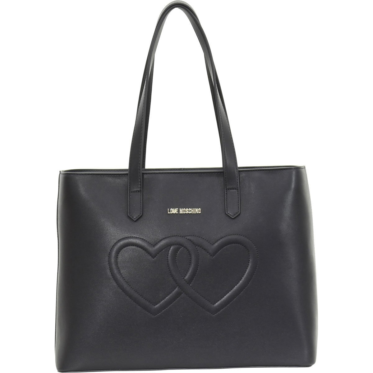 ddfd0d2a19293 Amazon.com  LOVE Moschino Women s Embossed Heart Tote Bag Black One Size   Shoes