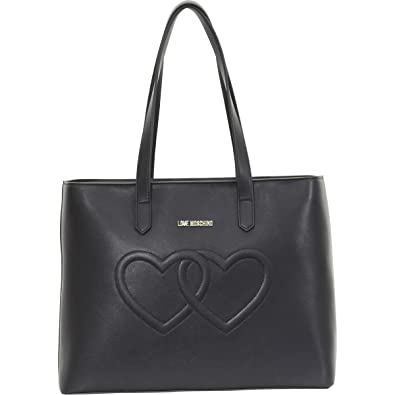 a1e52204571d Amazon.com  LOVE Moschino Women s Embossed Heart Tote Bag Black One Size   Shoes
