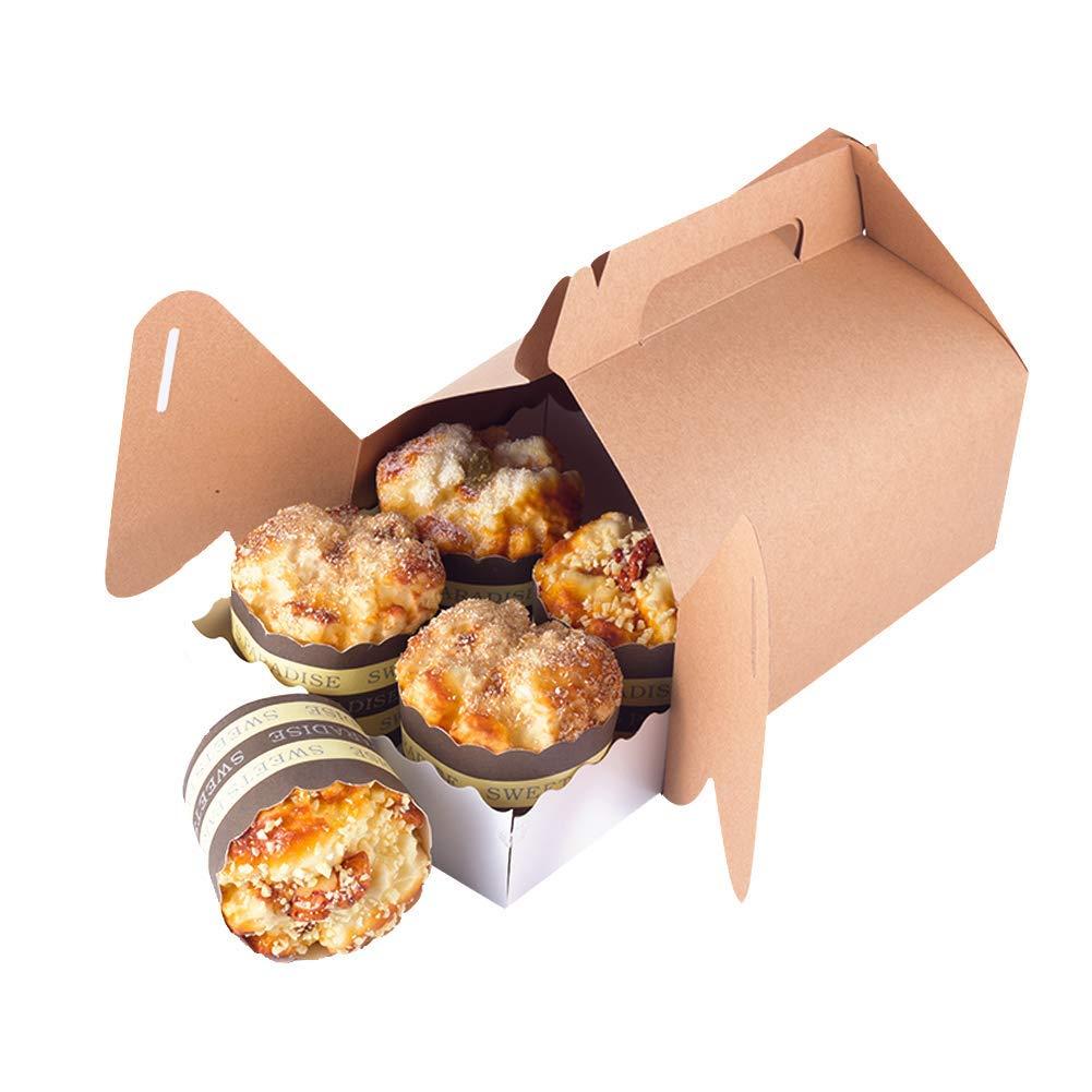 Kyrieval 12 St/ück Kraftpapier Geschenkbox Treat Boxen Geschenkboxen Dekorative Kraft Geschenkbox Kuchenbox Kuchenkarton Tortenkartons