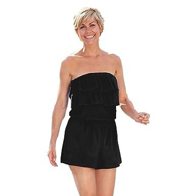 24cfd7d9d9b8 Blair Women s Terry Romper - S Black at Amazon Women s Clothing store
