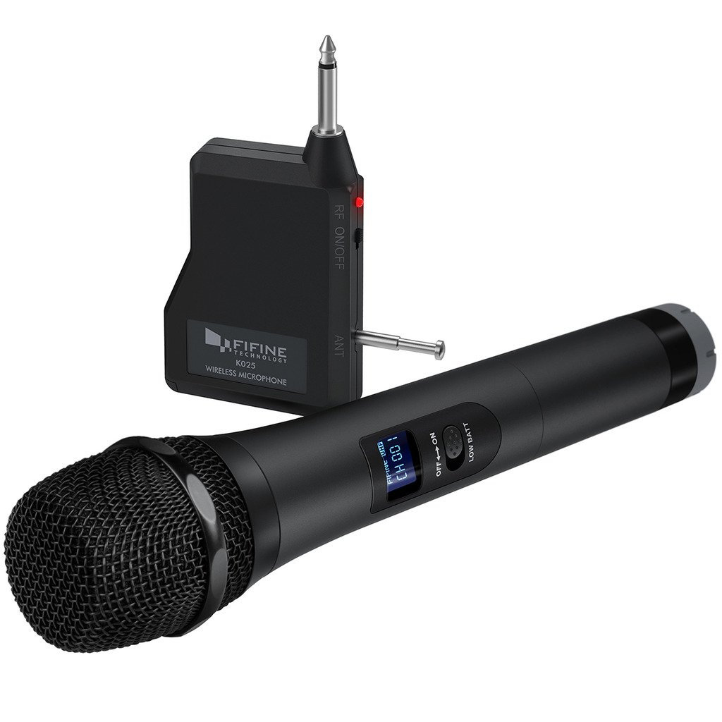 Wireless Microphone,Fifine Handheld Dynamic Microphone Wireless mic System for Karaoke Nights and House Parties to Have Fun Over The Mixer,PA System,Speakers-K025 by FIFINE TECHNOLOGY
