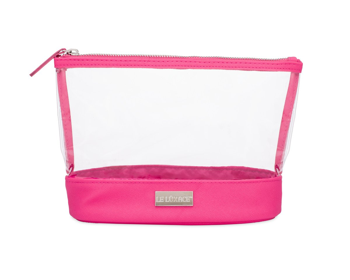 LE LUXACE Pink Sapphire + Diamond Jetsetter Pouch - Premium TSA Approved Travel Toiletry Bag - Clear and Hot Pink Cosmetic Case with Zipper