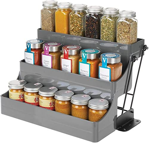 mDesign Plastic 3 Tier Pull Down Spice Rack – Easy Reach Retractable Large Capacity Kitchen Storage Shelf Organizer for Cabinet and Pantry -Holder for Seasoning Jars, Bottles, Shakers – Charcoal Black
