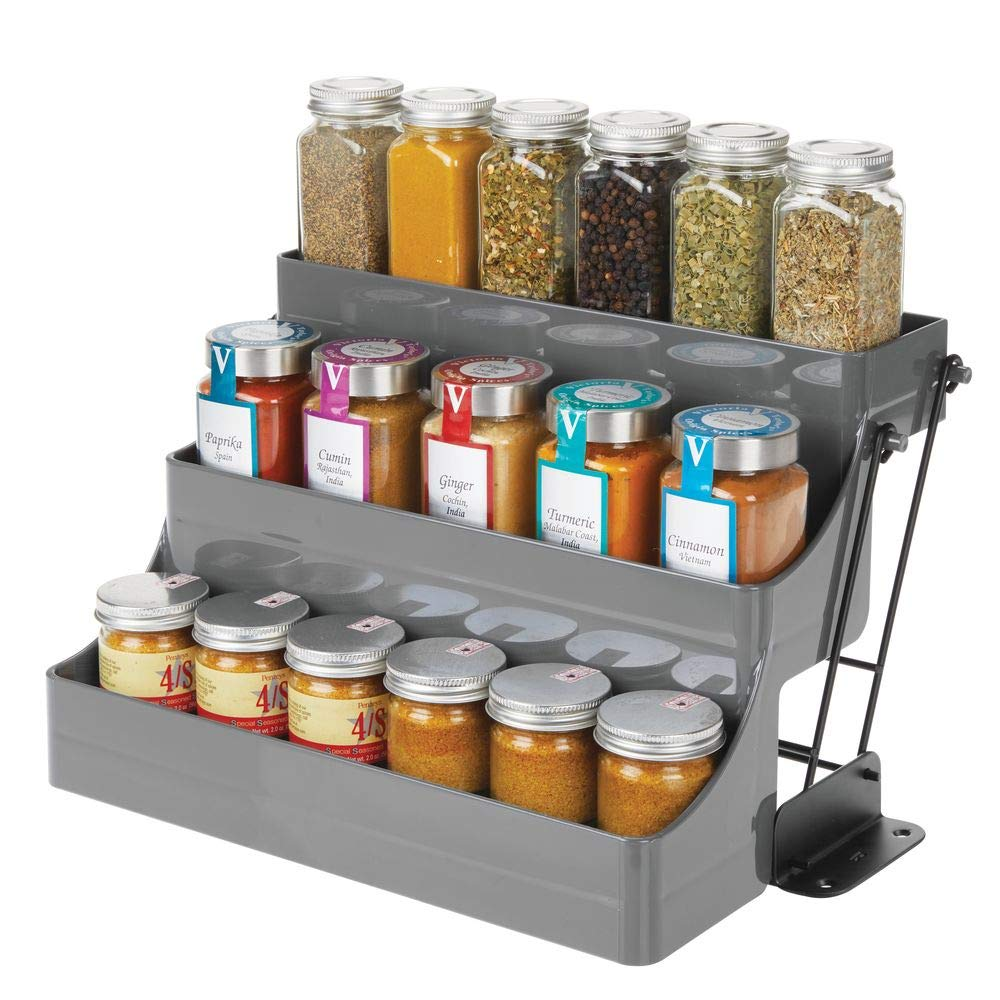 mDesign Plastic 3 Tier Pull Down Spice Rack - Easy Reach Retractable Large Capacity Kitchen Storage Shelf Organizer for Cabinet and Pantry -Holder for Seasoning Jars, Bottles, Shakers - Charcoal/Black