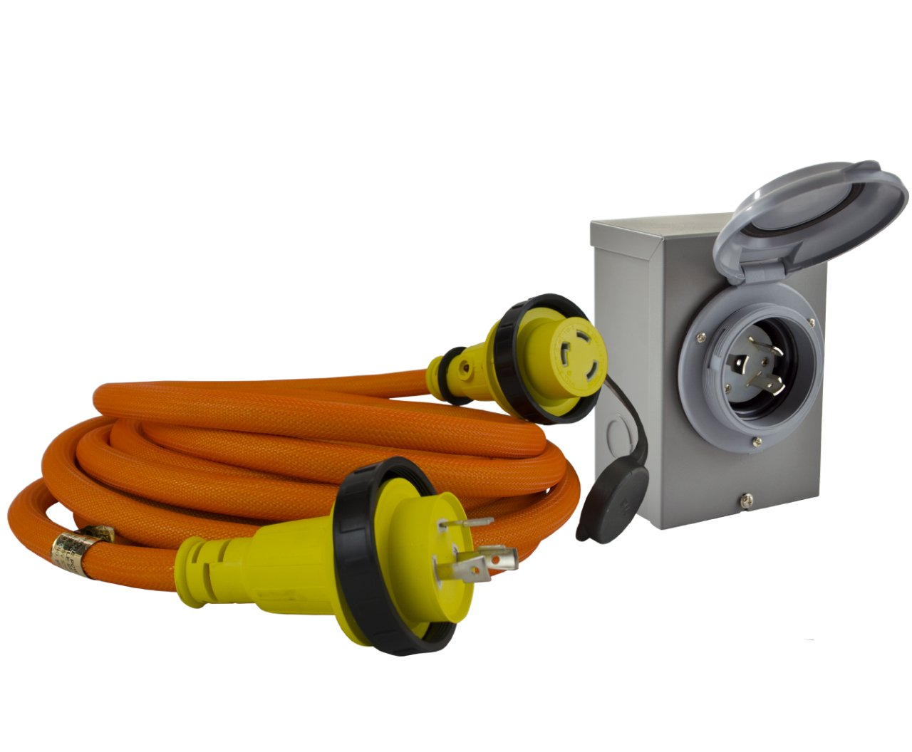 Conntek GIBL530-050 DUO-RainSeal Kit 30 Amp Transfer Switch Cord/Generator Extension Cord with Inlet Box, 50'