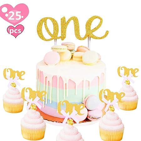 JeVenis 25 piezas de decoración para tarta de primer ...