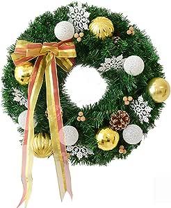 gjm Guirnalda de Navidad Rojo/Oro Bola de algodón Puerta Colgante Guirnalda Escaparate Círculo de ratán Decoraciones de Navidad Suministros Gold- Diameter 60cm: Amazon.es: Hogar