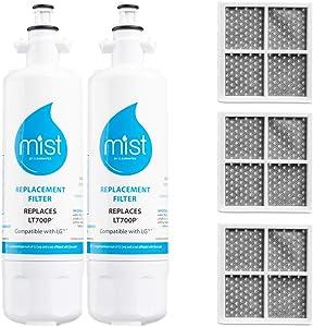 Kenmore 9690 Water Filter Replacement & LG LT120F Air Filter Replacement, Compatible with LG LT700P, ADQ36006101, LFX31925ST, LFXS32766S, 2 Water Filters 3 Air Filters