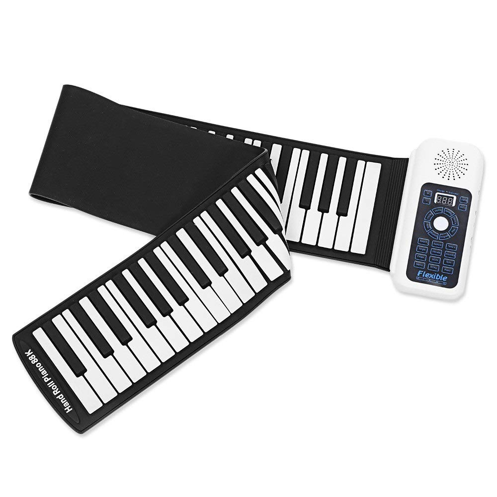 Portable Roll Up Piano USB MIDI Output LED Display Foldable 88 Keys Flexible Soft Silicon Electric Digital Roll Up Keyboard Piano With Recording Programming Playback Tutorial Sustain Vibrato Functions