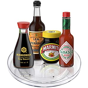 "Lazy Susan Turntable Food Storage Container for Cabinets, Pantry, Refrigerator, Countertops, BPA Free - Spinning Organ-izer Rack for Spices, Condiments, Baking Supplies - 9"" Round,Clear"